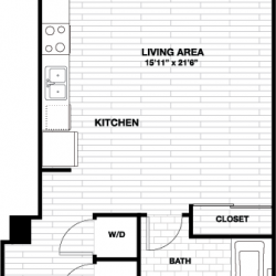 Skyhouse Main Downtown Houston Apartment 1 bedroom, 616ft² floorplan