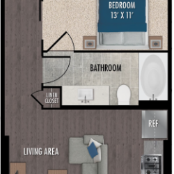 Alexan Downtown Houston Apartment Studio, 627ft² Floorplan