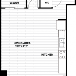 Skyhouse Main Downtown Houston Apartment 1 bedroom, 627ft² floorplan