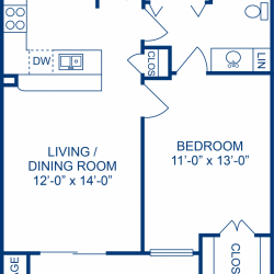 Camden Midtown Apartment 1 bedroom, 630ft² floorplan