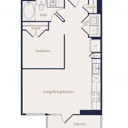 Eighteen25 Downtown Houston Apartment Stuido, 642ft² floorplan