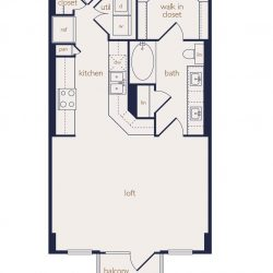 Eighteen25 Downtown Houston Apartment 1 bedroom, 644ft² floorplan