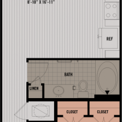 Block 334 Downtown Houston Apartment 1 bedroom, 649ft² floorplan