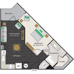 Midtown Houston By Windsor Apartment 1 bedroom, 654ft² Floorplan