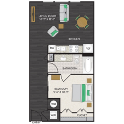 Midtown Houston By Windsor Apartment Studio, 655ft² Floorplan