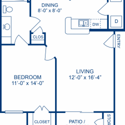 Camden Midtown Apartment 1 bedroom, 660ft² floorplan