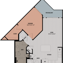 Block 334 Downtown Houston Apartment 1 bedroom, 664ft² floorplan