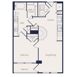 Eighteen25 Downtown Houston Apartment 1 bedroom, 674ft² floorplan²