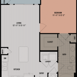 Block 334 Downtown Houston Apartment 1 bedroom, 678ft² floorplan