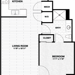Skyhouse Main Downtown Houston Apartment 1 bedroom, 680ft² floorplan