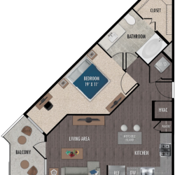 Alexan Downtown Houston Apartment 1 bedroom, 689ft² Floorplan