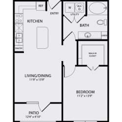 Pearl Midtown Houston Apartment 1 bedroom, 693ft² floorplan