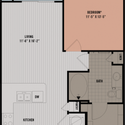 Block 334 Downtown Houston Apartment 1 bedroom, 705ft² floorplan