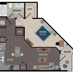 Alexan Downtown Houston Apartment 1 bedroom, 707ft² Floorplan