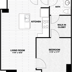Skyhouse Main Downtown Houston Apartment 1 bedroom, 725ft² floorplan