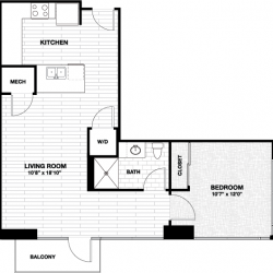 Skyhouse Main Downtown Houston Apartment 1 bedroom, 742ft² floorplan