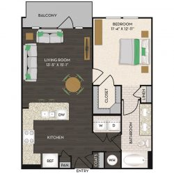 Midtown Houston By Windsor Apartment 1 bedroom, 750ft² Floorplan