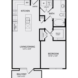 Pearl Midtown Houston Apartment 1 bedroom, 752ft² floorplan