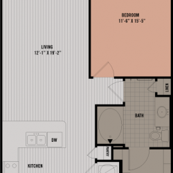 Block 334 Downtown Houston Apartment 1 bedroom, 758ft² floorplan