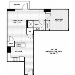 Skyhouse Main Downtown Houston Apartment 1 bedroom, 760ft² floorplan