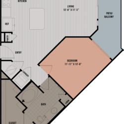 Block 334 Downtown Houston Apartment 1 bedroom, 761ft² floorplan