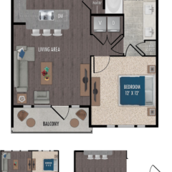 Alexan Downtown Houston Apartment 1 bedroom, 763ft² Floorplan