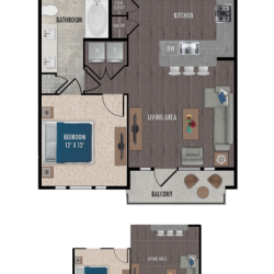Alexan Downtown Houston Apartment 1 bedroom, 766ft² Floorplan