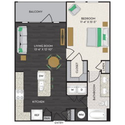 Midtown Houston By Windsor Apartment 1 bedroom, 768ft² Floorplan