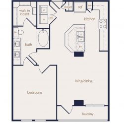 Eighteen25 Downtown Houston Apartment 1 bedroom, 783ft² floorplan²