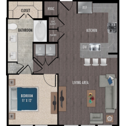Alexan Downtown Houston Apartment 1 bedroom, 786ft² Floorplan
