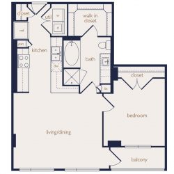 Eighteen25 Downtown Houston Apartment 1 bedroom, 789ft² floorplan²