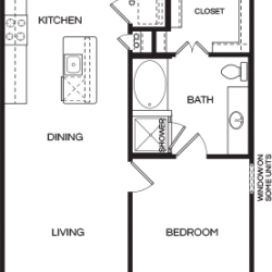 Pear at the Mix 1 bedroom, 800ft² floorplan