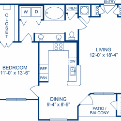 Camden Midtown Apartment 1 bedroom, 811ft² floorplan