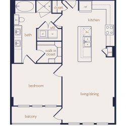 Eighteen25 Downtown Houston Apartment 1 bedroom, 820ft² floorplan²