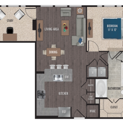 Alexan Downtown Houston Apartment 1 bedroom, 823ft² Floorplan