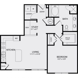 Pearl Midtown Houston Apartment 1 bedroom, 903ft² floorplan