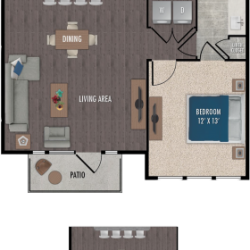 Alexan Downtown Houston Apartment 1 bedroom, 903ft² Floorplan