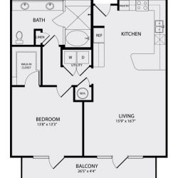 Pearl Midtown Houston Apartment 1 bedroom, 945ft² floorplan