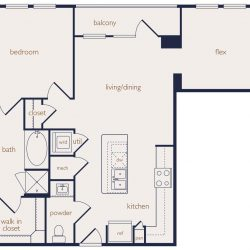 Eighteen25 Downtown Houston Apartment 1 bedroom, 952ft² floorplan