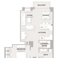 The Star Downtown Houston Apartment 1 bedroom, 990ft² floorplan