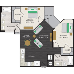 Midtown Houston By Windsor Apartment 2 bedroom, 997ft² Floorplan