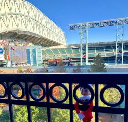 Looking out of the club room to Minute Maid Park