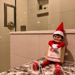 Elf on the shelf holding a bar of soap in The Carter Apartments