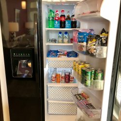 In the black refrigerator at Haven at Main luxury apartment