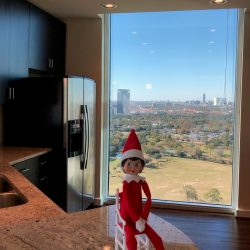 The kitchen of this apartment overlooks the golf course at Hermann Park