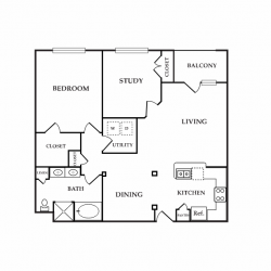 Calais Midtown Houston Apartment 1 bedroom, 1071ft² floorplan