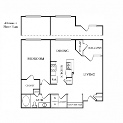 Calais Midtown Houston Apartment 1 bedroom, 764ft² floorplan