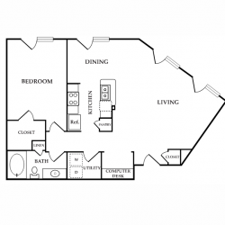 Calais Midtown Houston Apartment 1 bedroom, 920ft² floorplan
