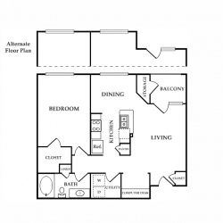 Calais Midtown Houston Apartment 1 bedroom, 795ft² floorplan