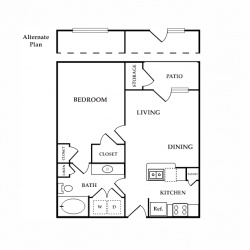 Calais Midtown Houston Apartment 1 bedroom, 683ft² floorplan